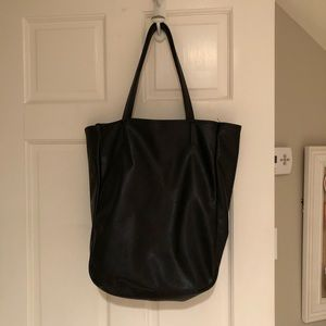 Vegan leather black tote